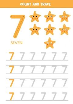 Tracing the number seven. cartoon sea star vector illustrations.