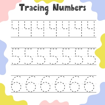 Tracing numbers activity page for kids. preschool writing worksheet for toddlers. education sheet template.