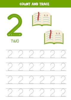 귀여운 녹색 책이 있는 추적 번호 워크시트.