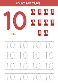 귀여운 가와이이 숫돌로 숫자 추적 워크시트.