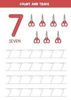 귀여운 빨간 가위로 숫자 워크시트를 추적합니다.