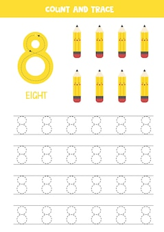 8개의 귀여운 연필로 숫자 워크시트를 추적합니다.