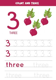 Tracing the word three and the number 3. cartoon beets images.