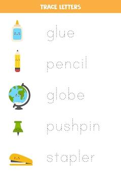 Tracing words of school supplies. writing practice.