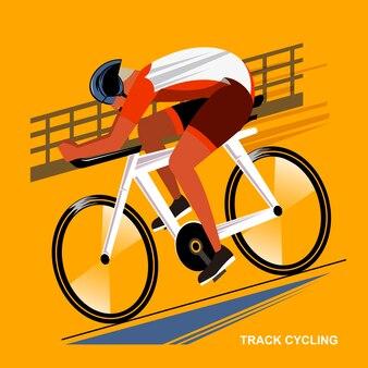 フラットスタイルでサイクリングアスリートの夏のゲームスポーツイベントを追跡する