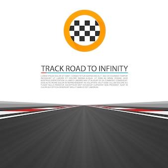 Отслеживайте дорогу до бесконечности, шоссе вектор дороги, векторные иллюстрации, фон спидвея.