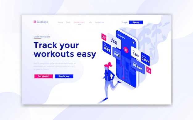 Track your workouts easy landing page