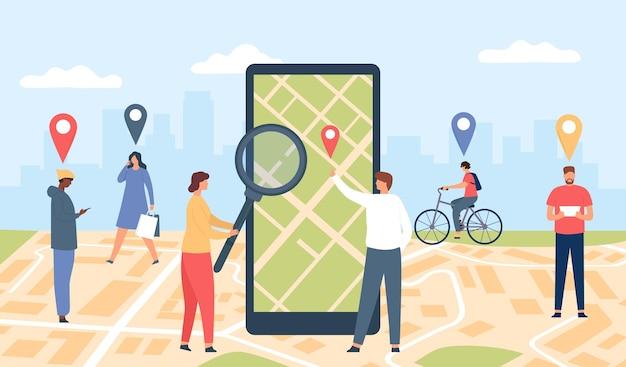 オンラインアプリケーションの追跡。画面上のgpsアプリ、都市の位置図、ピンを持って歩く人々を備えたスマートフォン。ジオロケーションベクトルの概念。 gpsアプリスマートフォン、オンラインアプリケーションジオロケーション