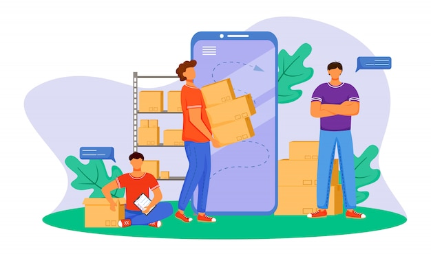 Tracking package flat color illustration. getting post notification. sending order. delivery services. boy sitting next to box isolated cartoon character on white background