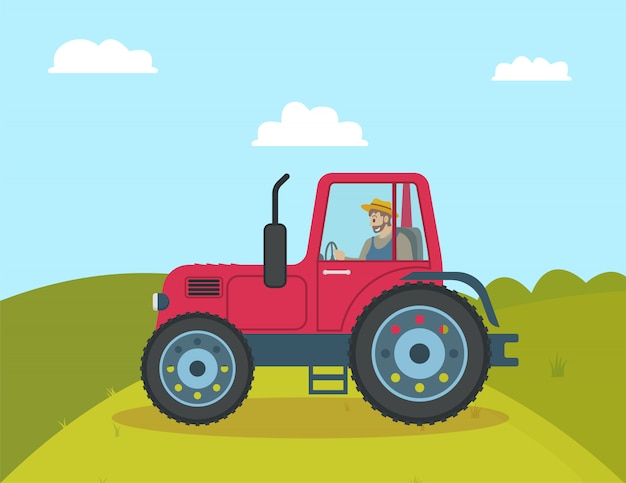 Tractor agricultural vehicle illustration