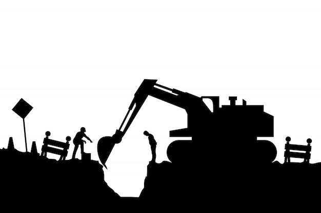 Силуэт трактора и строителей