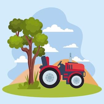 Трактор и дерево