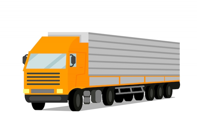 Tractor cargo trailer flat vector illustration