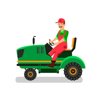 Tractor driver character. agricultural machinery