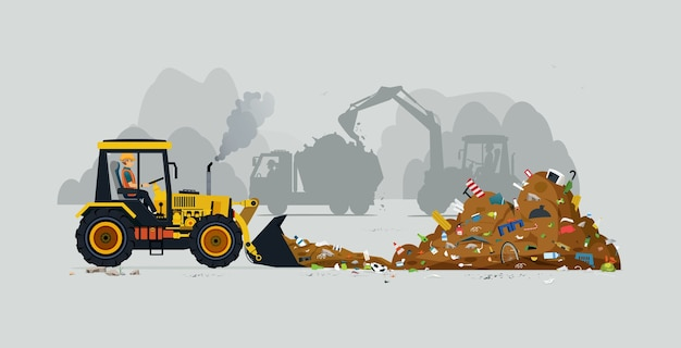 A tractor driver is plowing a pile of garbage