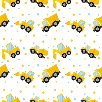 Tractor, excavator, bulldozer and trucks seamless pattern
