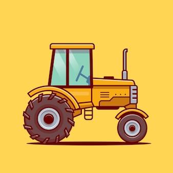 트랙터 농장 만화 벡터 아이콘 그림입니다. 농장 교통 아이콘 개념 고립 된 벡터입니다. 플랫 만화 스타일