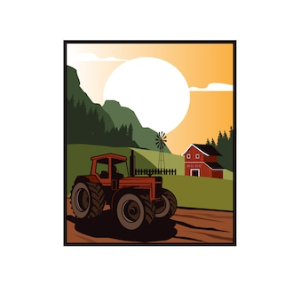 Tractor on the farm fields