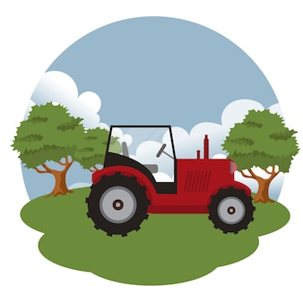 Tractor in the farm scene