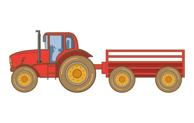 トラクターファームトレーラー。収穫のフィールドワーク用の重農機機械。ファーム輸送。側面図