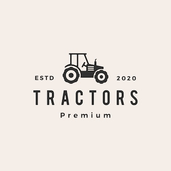 Tractor hipster vintage logo  icon illustration