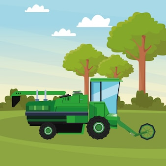 Tractor icon cartoon