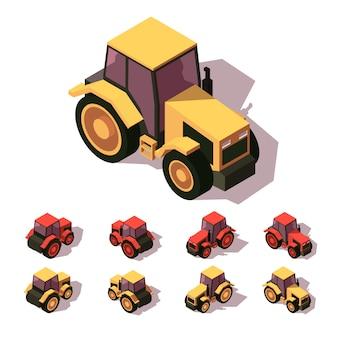 Tractor isometric icon set