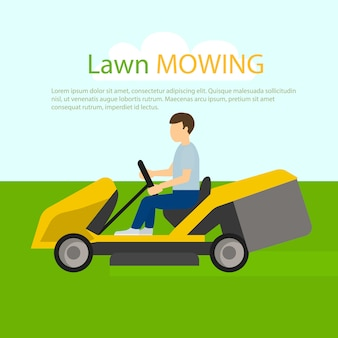 Tractor lawn mowing concept , flat style
