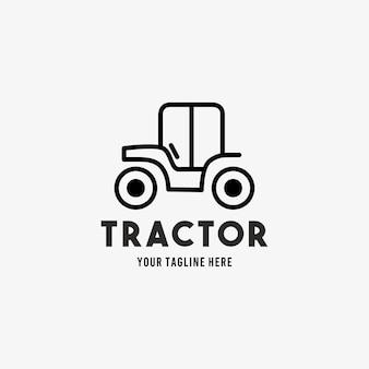 トラクターラインスタイルデザインシンボルロゴイラストテンプレート