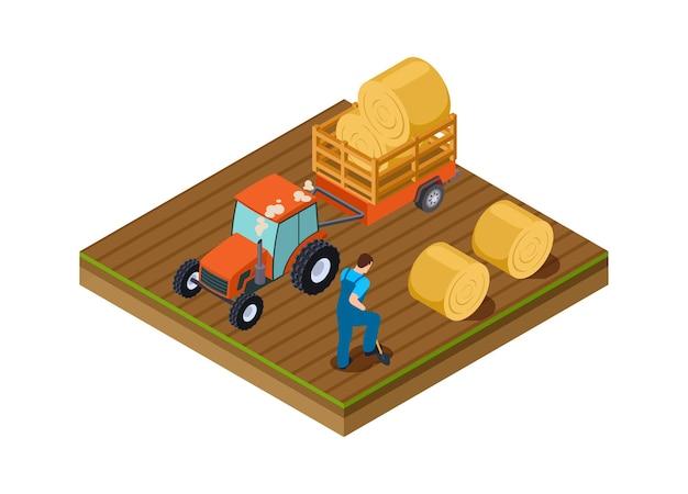 Тракторный грузовик. сельскохозяйственные работы, мужчина копает землю. изометрические плантации, время сбора урожая векторные иллюстрации. тракторное сельское хозяйство в сельской местности, машинное сельское хозяйство работает