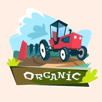 Tractor plowing field eco farming concept