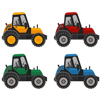Tractor red, blue, yellow and green colors flat icons set. farm truck illustration isolated on white background.