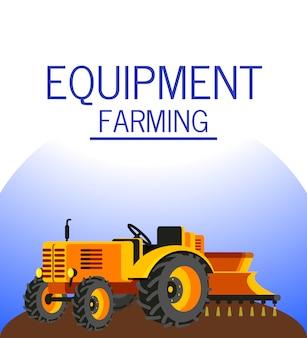 Tractor seeding wheat flat vector illustration