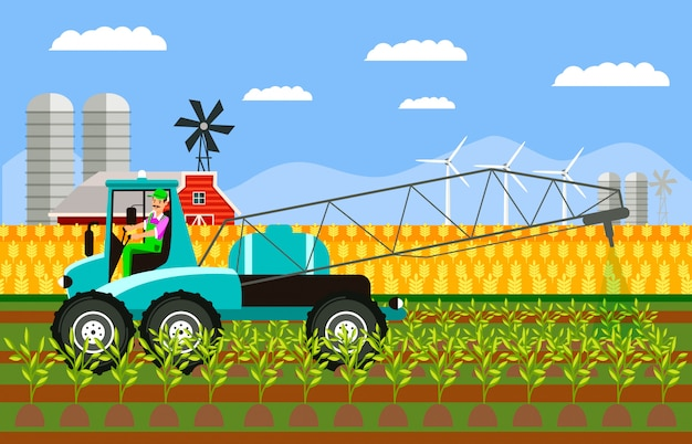 Tractor spraying harvest color vector illustration