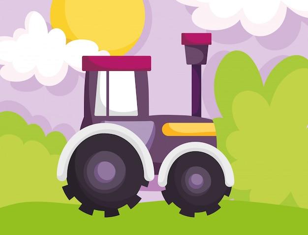 トラクタートラックマシン草太陽雲ファーム漫画イラスト