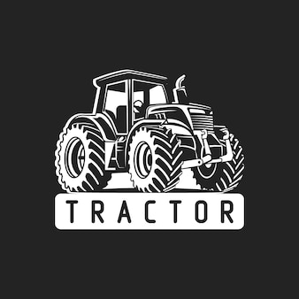 Tractor vector black and white