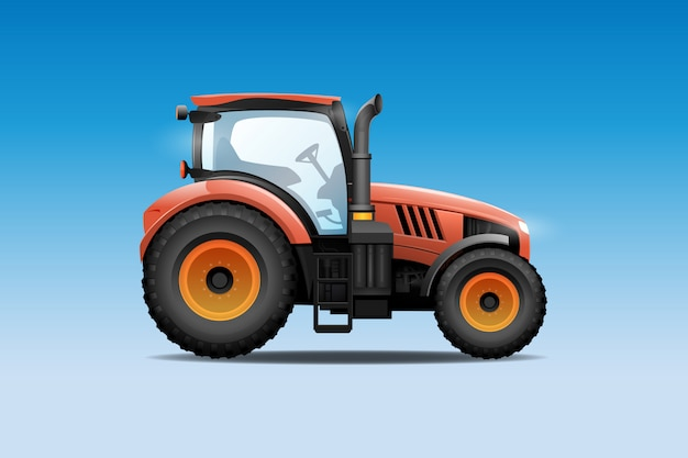 Tractor vector illustration. side view of modern farm tractor