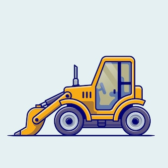 트랙터 차량 만화. 건물 교통 절연