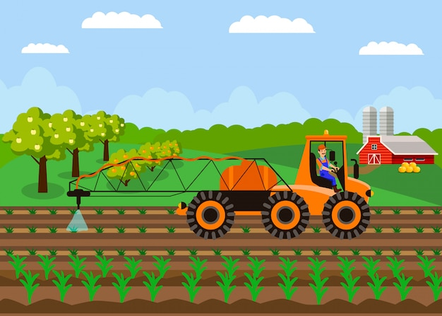 Tractor watering soil, field vector illustration