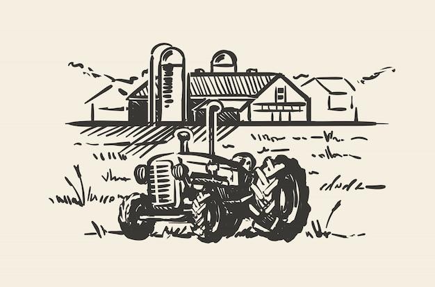 Трактор с иллюстрацией эскиза сельской сцены. деревенский пейзаж фермы рисованной иллюстрации.