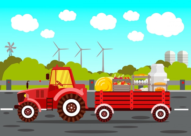 Tractor with cart color illustration