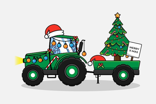 Tractor with christmas decoration
