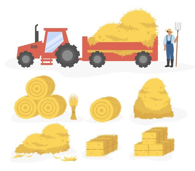 干し草の漫画イラストのトラクター。白い背景で隔離の干し草セットのセットです。わら、干し草、干し草