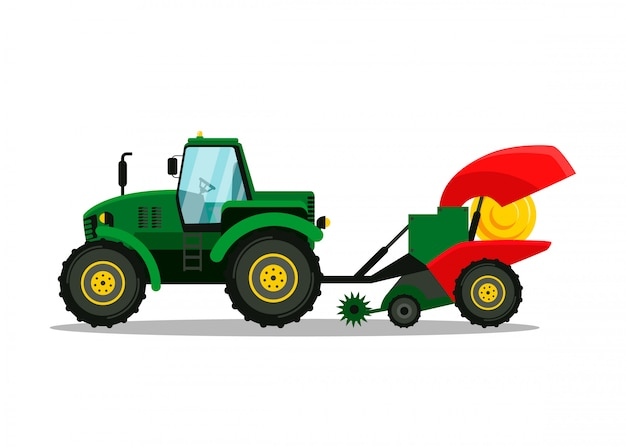 Tractor with plow side view vector illustration