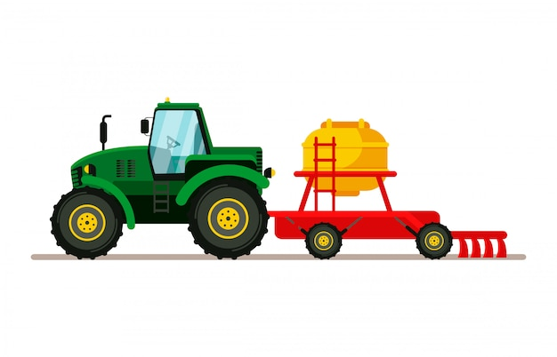 Tractor with seeder flat vector illustration