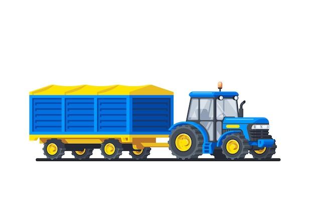흰색 배경에 고립 된 트레일러와 트랙터입니다. 농업 기계. 플랫 스타일 일러스트