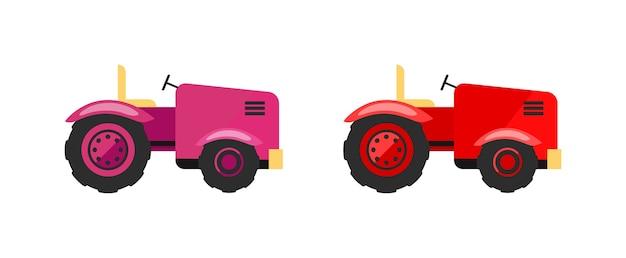 トラクターフラットカラーオブジェクトセット。農業機械。エンジニアリング車両。小さな農業用トラクターの孤立した漫画