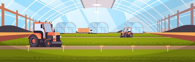 Tractors working on organic products industrial plantation growing plants smart farming agribusiness