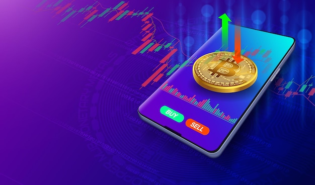 Trade the bitcoin stock market on your smartphone on blue purple background