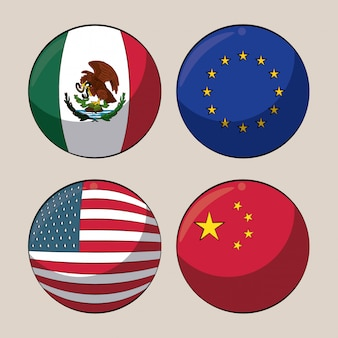 Trade country flags in round symbols